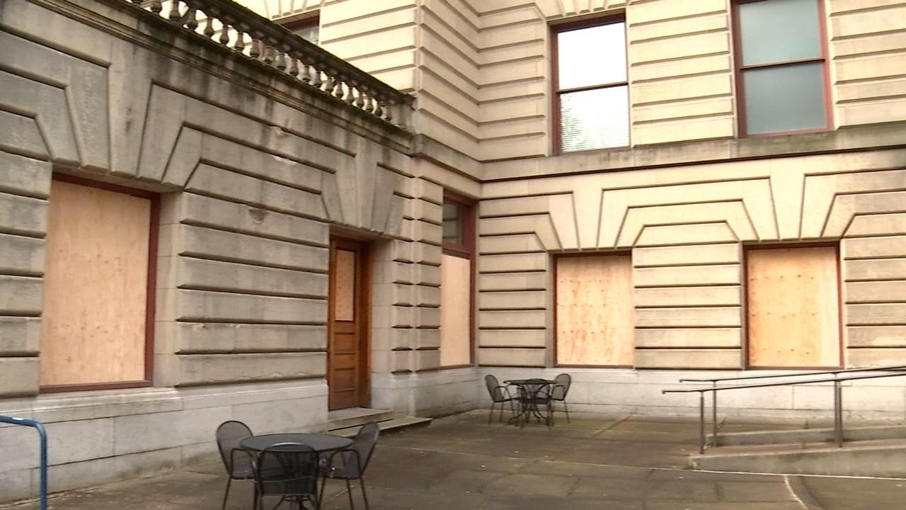 Broken windows at Portland City Hall