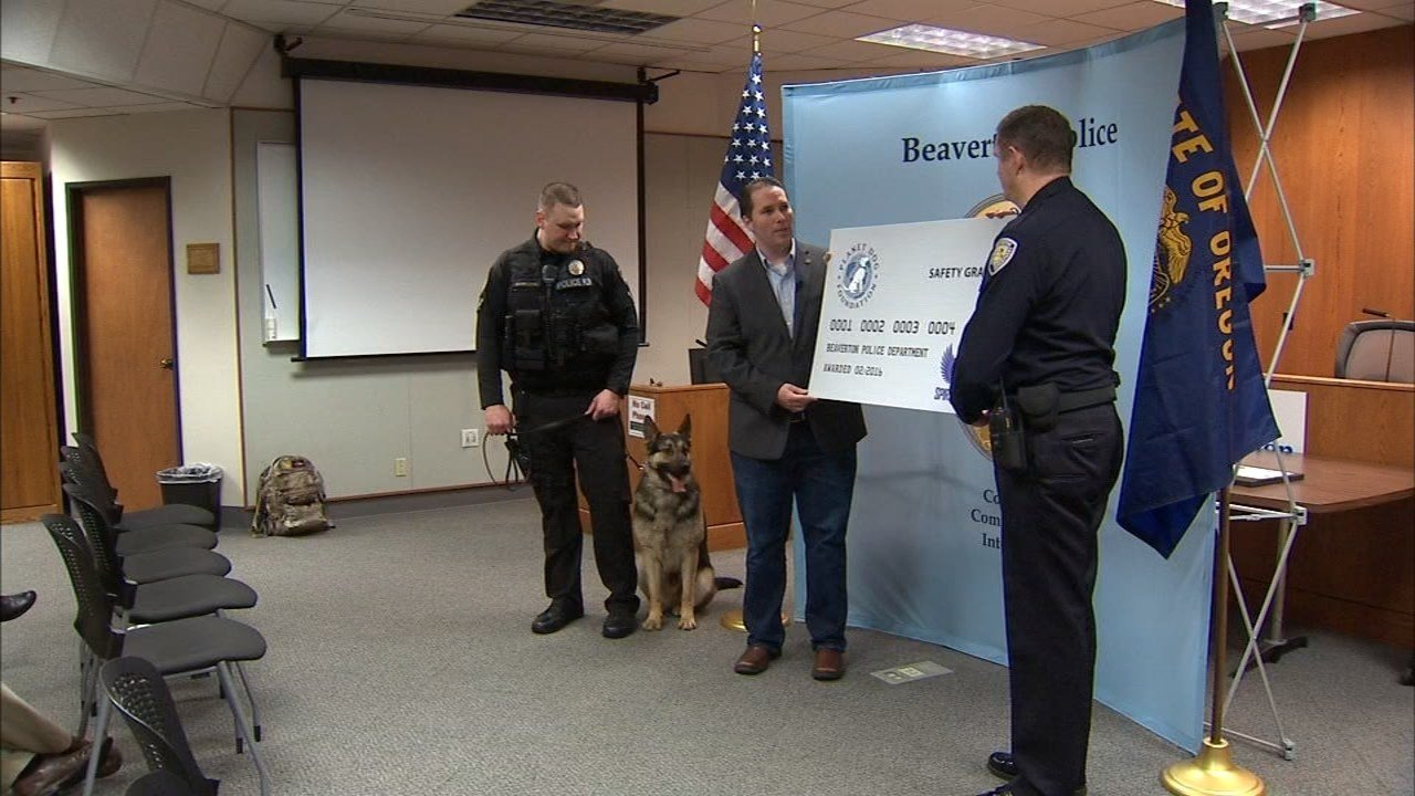 Beaverton Police Department receiving the grant from Spirit of Blue Foundation.