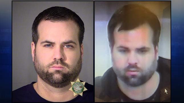 Nathan Lee Conner jail booking photo on left, surveillance image that led to his arrest on right (Photos from Portland Police Bureau)