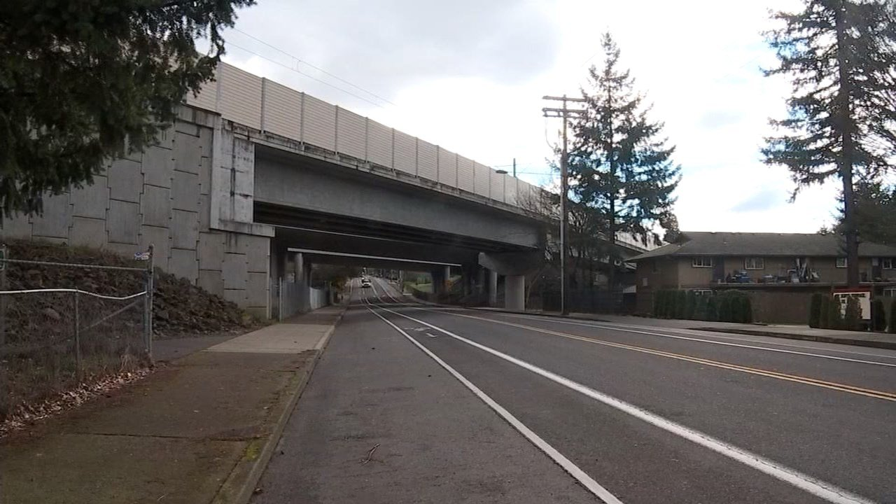 I-205 overpass where Bruno was hit