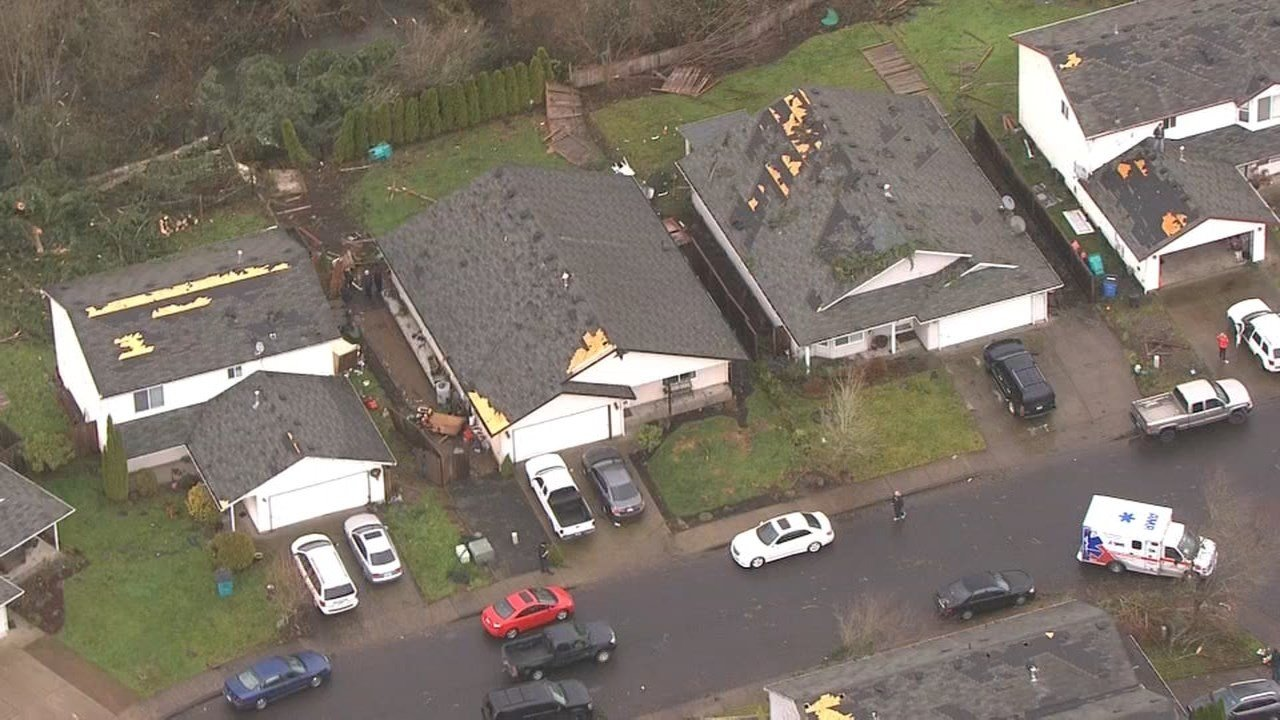 Aerial view of damage from the EF-1 tornado that touched down in Battle Ground, WA Dec. 10. (Photo: KPTV)