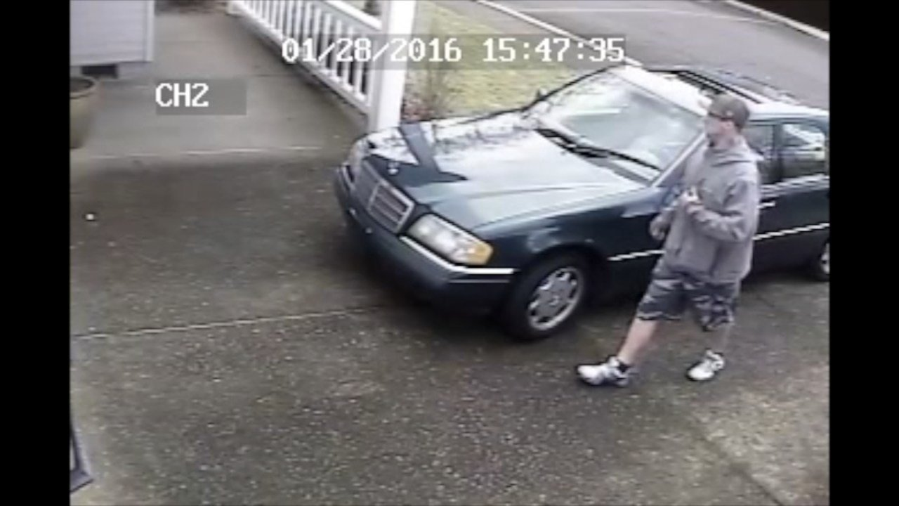 Wanted package theft suspect (Surveillance images from Clackamas County Sheriff's Office)