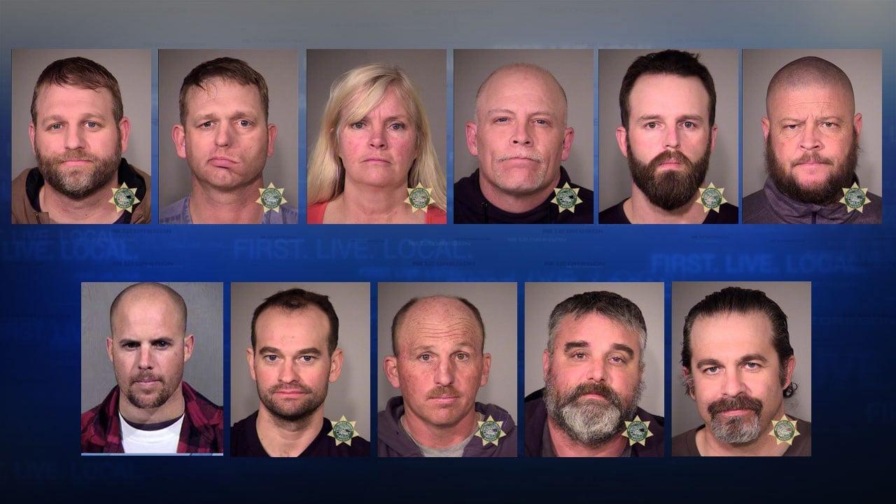 Jail booking photos. Top row (left to right): Ammon Bundy, Ryan Bundy, Shawna Cox, Joseph O'Shaughnessy, Ryan Payne, Brian Cavalier. Second row (left to right): Jon Ritzheimer, Dylan Anderson, Duane Ehmer, Jason Patrick, Peter Santilli.