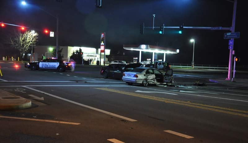 Hit-and-run crash scene (Photo: Salem PD)