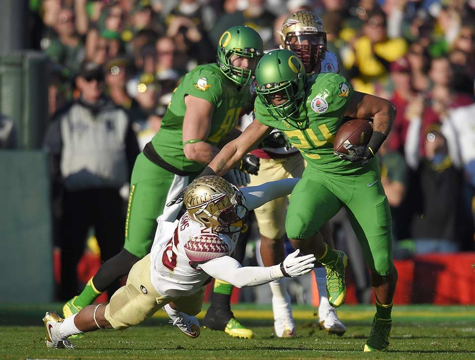 Oregon Ducks RB Thomas Tyner during the 2015 Rose Bowl against Florida State University. (AP/File photo)
