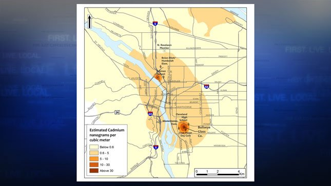 DEQ preliminary map of heavy metal emissions. (Photo credit: DEQ)