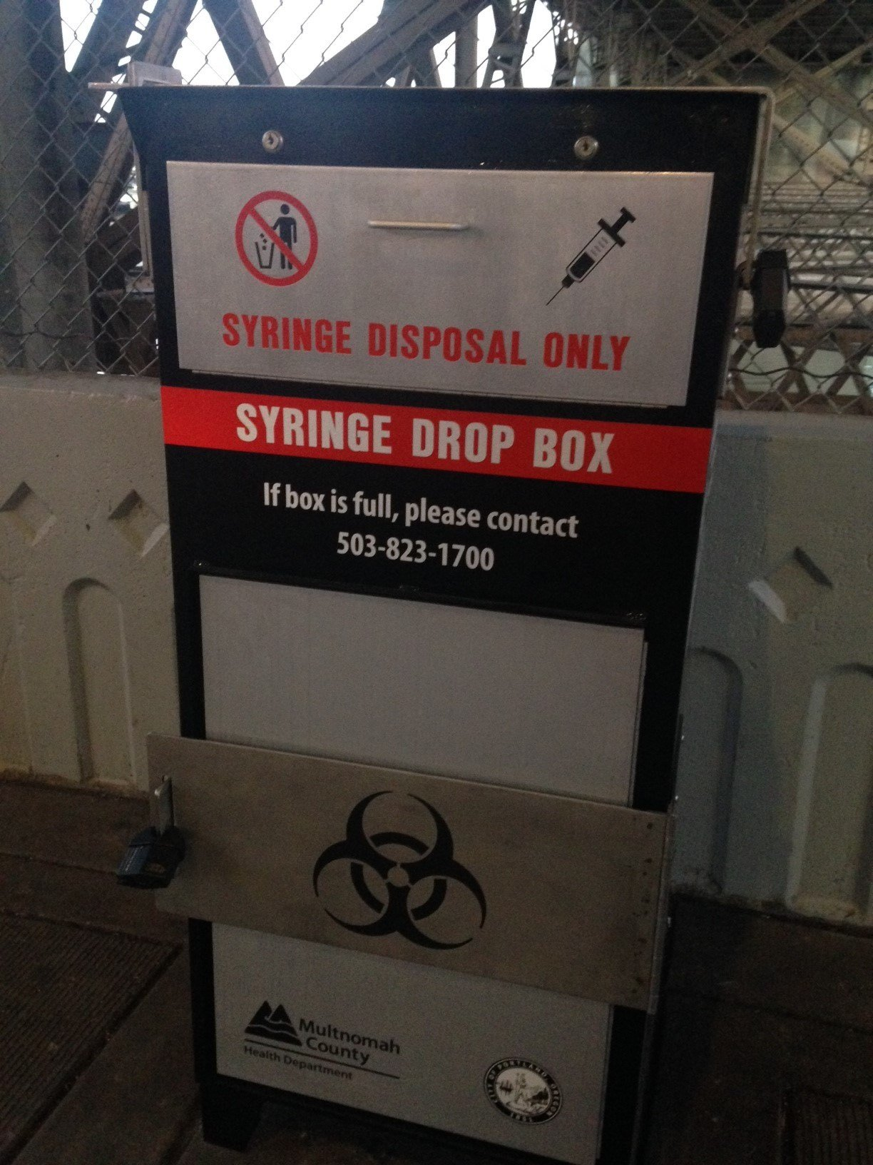 One of the two new syringe drop boxes along the Portland waterfront.
