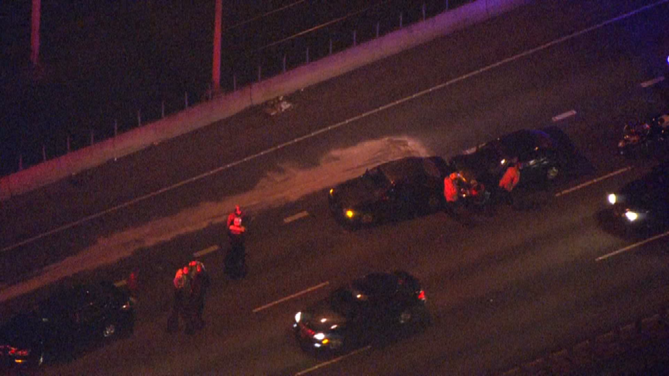 Air 12 over crash on I-84 at Lloyd Blvd (Photo credit: KPTV)