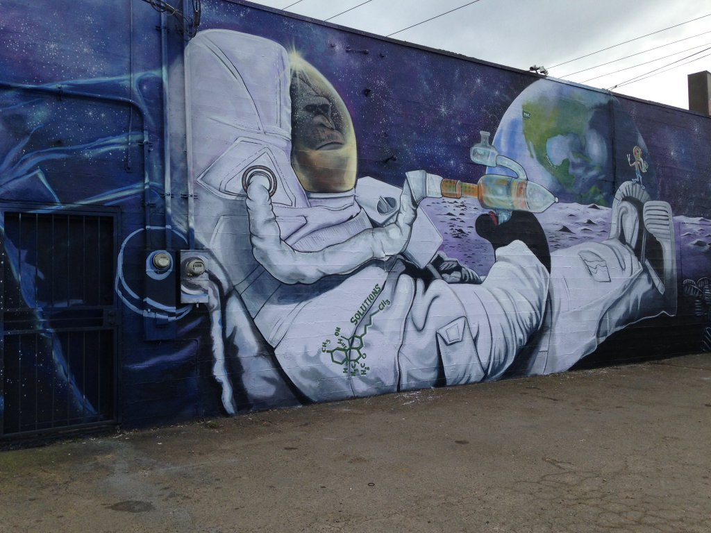 The mural depicts an ape in a space suit smoking marijuana (Photo: KPTV)