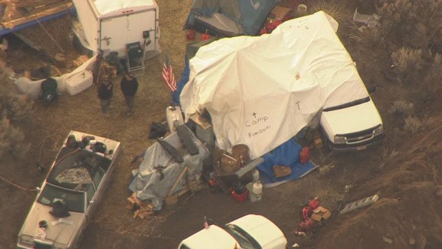 The protesters encampment the morning of their surrender to the FBI.