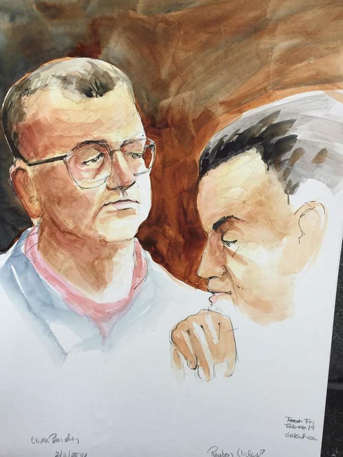 Cliven Bundy, courtroom sketch in Portland on Monday