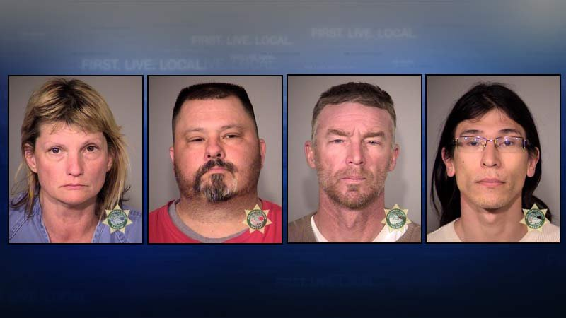 Jail booking photos of Sandra Anderson, Sean Anderson, Jeff Banta and David Fry.