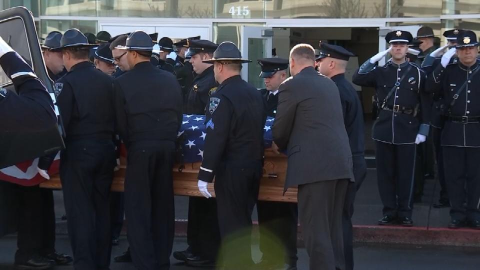Sgt. Jason Goodding's casket arrives at Seaside Convention Center for his memorial service (Photo: KPTV)