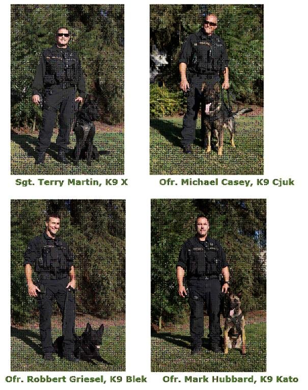 All four Eugene Police K-9's with their partner officer