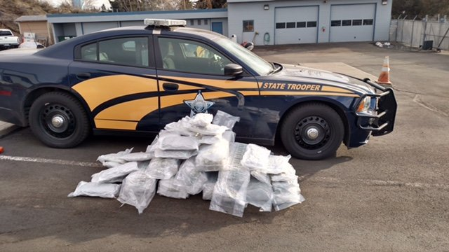 More than 100 pounds of marijuana valued at approximately $226,000 was discovered during a traffic stop in southern Oregon. (Evidence photo: OSP)