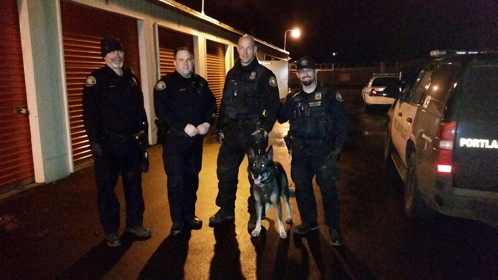 K-9 Hunter  and Portland Police Bureau officers (Photo: PPB)