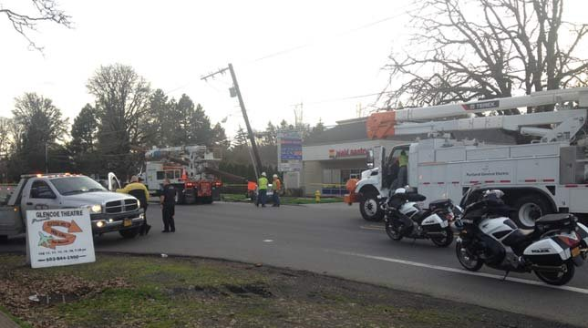 A crash near Glencoe High School cut power to thousands of people Monday.