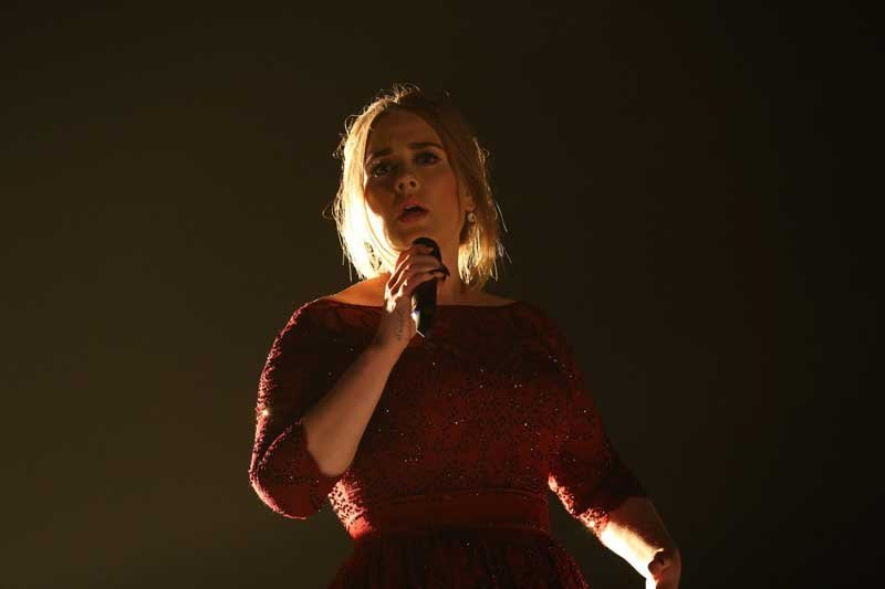 Adele during The 58th Annual GRAMMY Awards broadcast on the CBS Television Network on Monday, Feb. 15, 2016 (Photo: Cliff Lipson/CBS)