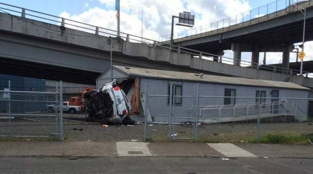 April 2015 crash scene near Hawthorne Bridge (Photo: Portland Fire & Rescue)
