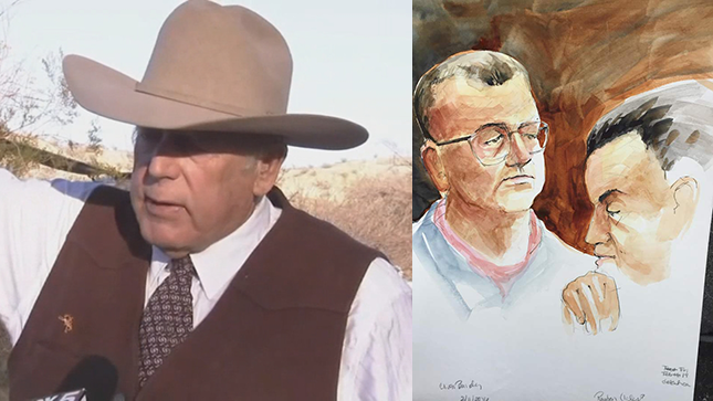 Cliven Bundy at his ranch and artist courtroom sketch