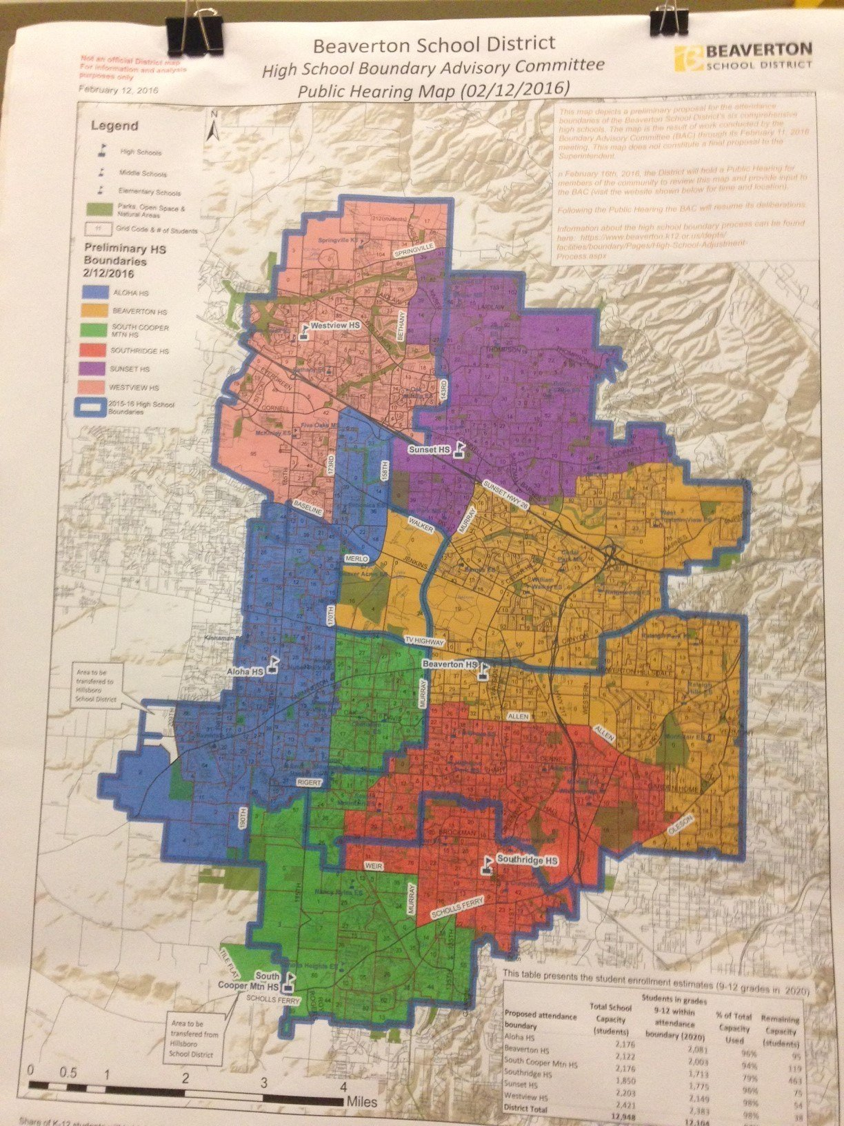 The current proposed boundary changes.
