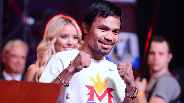 World boxing champion Manny Pacquiao arrives at the Mandalay Bay Resort in Las Vegas, Nevada on April 28, 2015. (CNN via Las Vegas News Bureau)