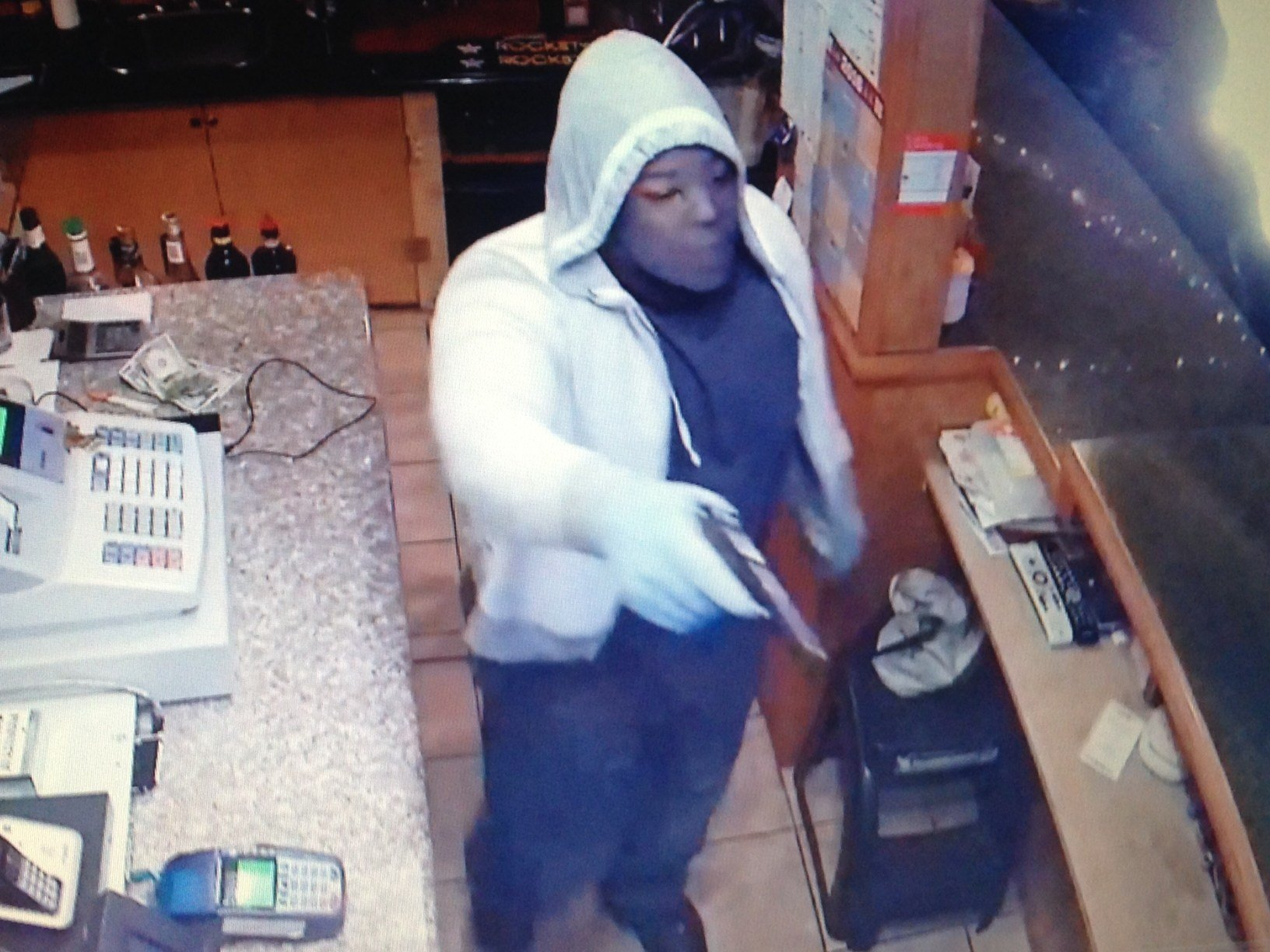 Another surveillance image showing the suspect who robbed Andy's Bar Thursday night.