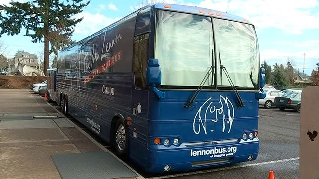 The John Lennon Educational Tour Bus made a stop in Vancouver on Wednesday.