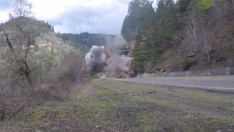 Screenshot of rock blasting video (Facebook/Aggregate Resource Industries, Inc.)