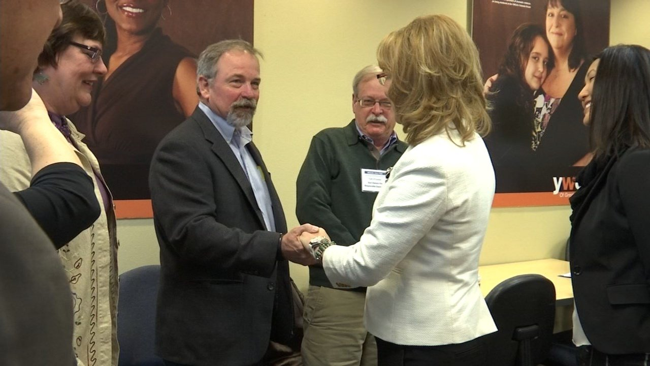 Paul Kemp, whose brother was among the victims killed at a shooting at the Clakamas Town Center in 2012, was among those joining with Gabby Giffords to announce new gun safety plans. (KPTV)