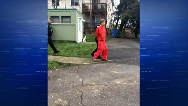The victim recorded video of Jon Selby being walked out of her home in handcuffs.