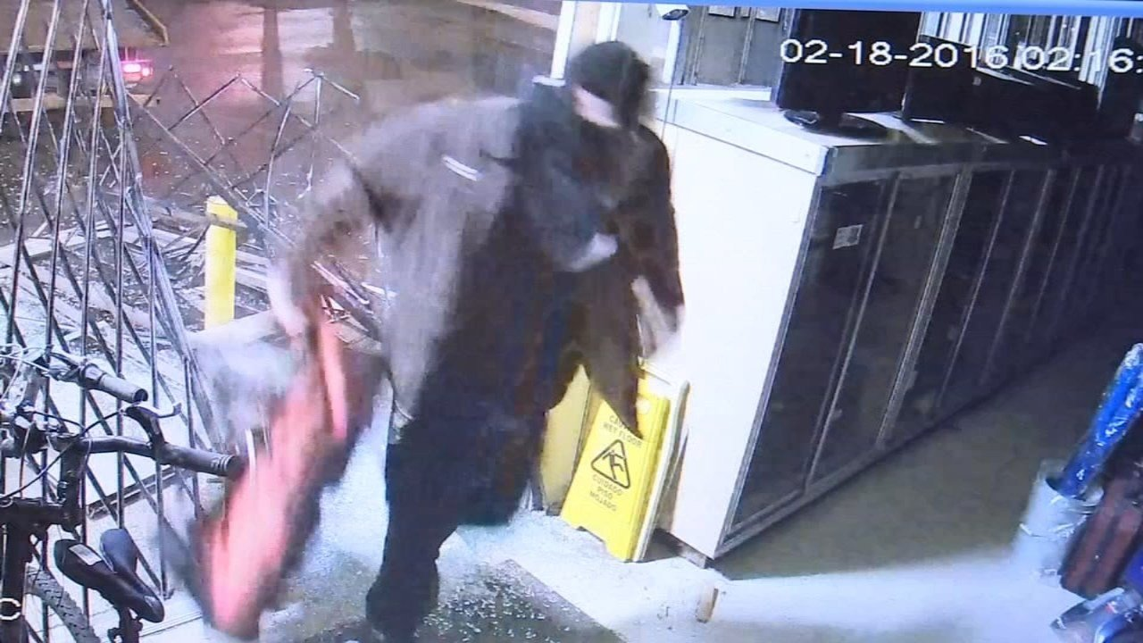 Surveillance image of pawn shop burglary in SE Portland on Feb. 18.
