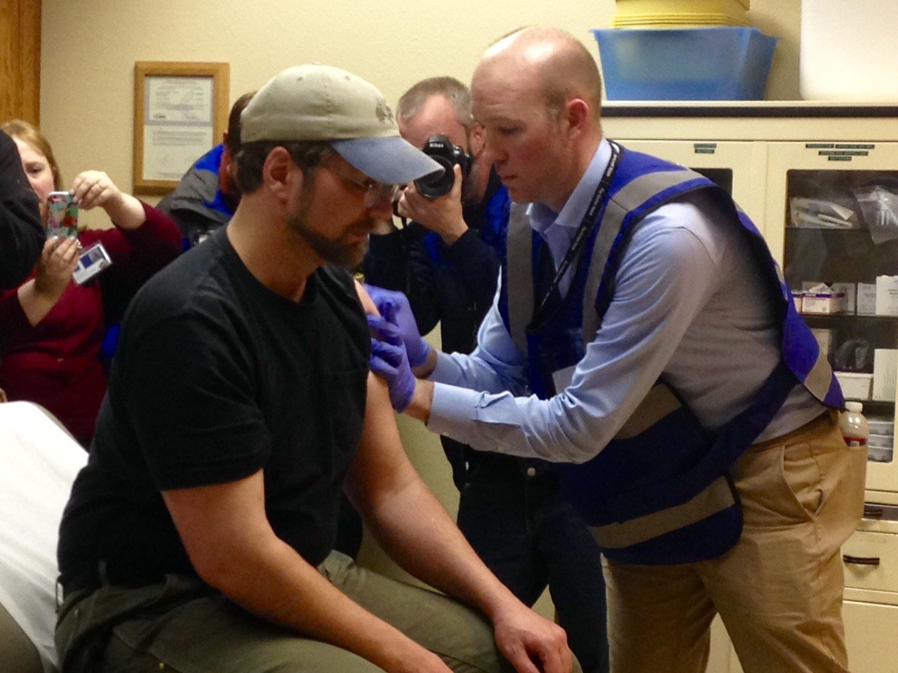 Sandy resident Kevin Afrank, getting his Hepatitis A vaccine Tuesday.