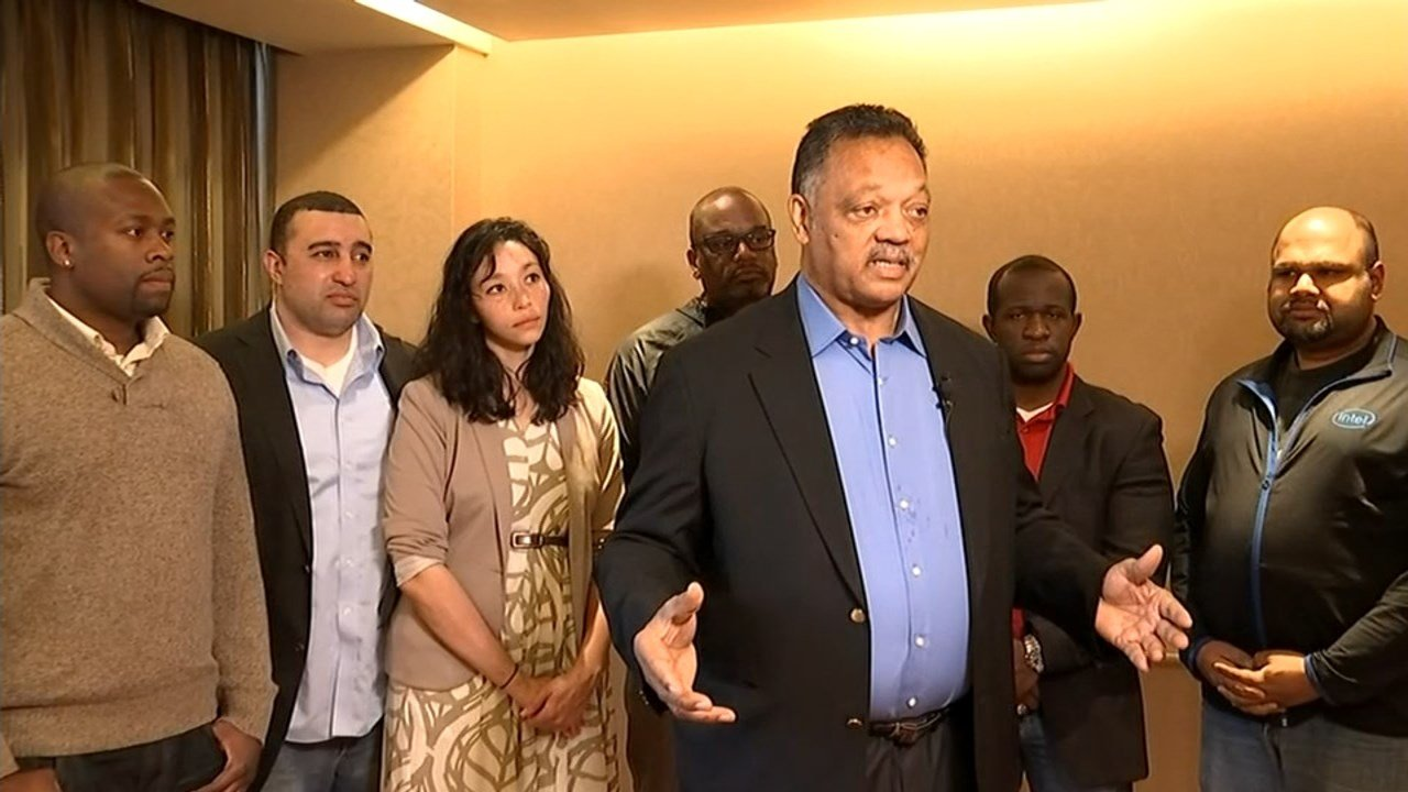 The Rev. Jesse Jackson met with Portland minority leaders and members of the team from Intel to discuss increasing opportunities for minorities working in technology.(KPTV)
