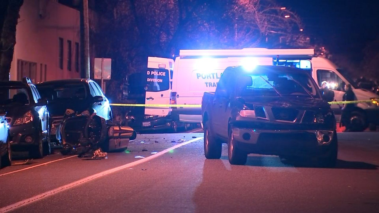 A motorcyclist was seriously injured after a crash involving a pick-up truck Wednesday night.  (KPTV)