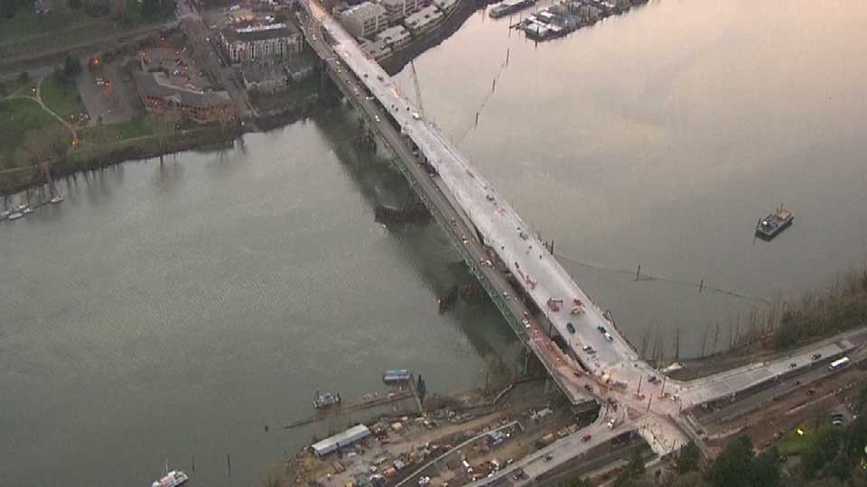 The new Sellwood Bridge span (pictured on the right) will open to traffic on Mar. 1. (Photo: KPTV)