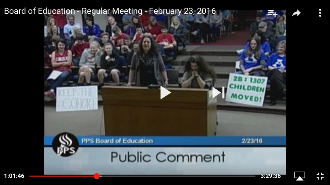 """Dr. Kirsten Carr sang her own version of Adele's """"Hello"""" to address concerns with the PPS school board about overcrowding in her child's school. (PPS YouTube)"""