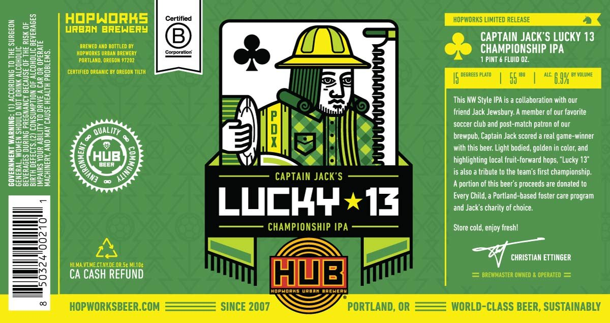 Captain Jack's Lucky 13 Championship IPA label (Image: Hopworks Urban Brewery)