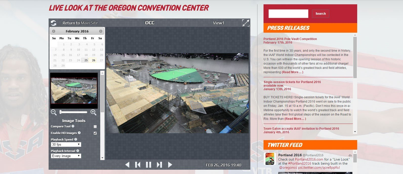 Running fans can check out a webcam feed inside the Oregon Convention Center to see the construction of the stadium and track being used for the U.S. Indoor Track and Field Championships. (KPTV)
