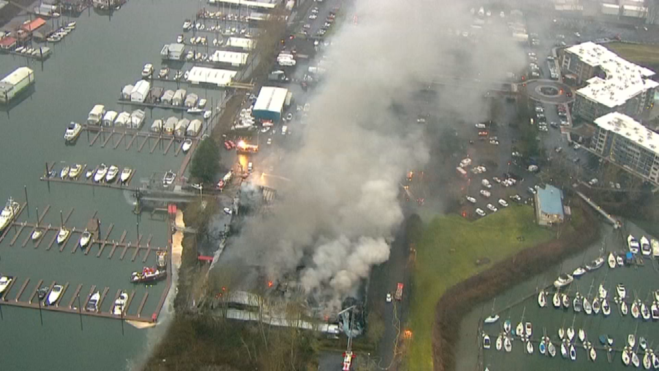 Air 12 over Sundance Marina fire