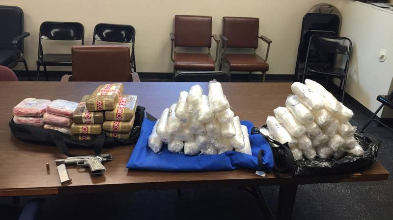 Evidence photo of meth and cocaine seized in traffic stop on Highway 97. (Photo: Oregon State Police)