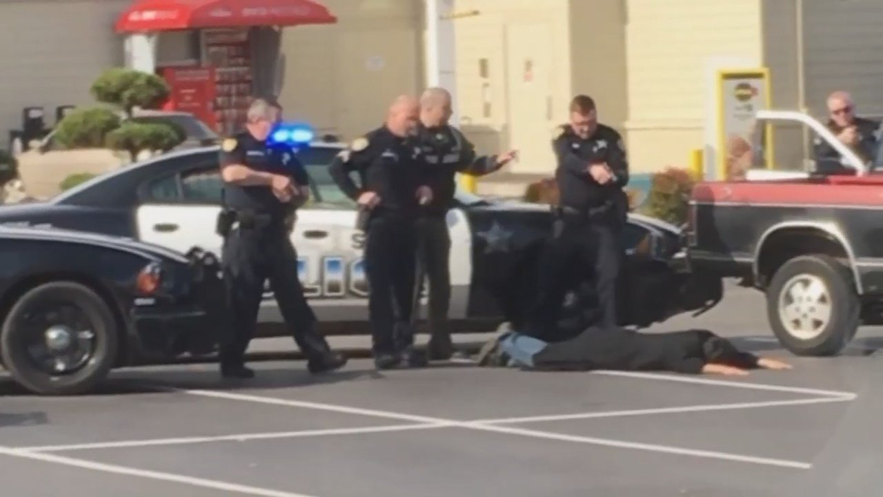 Image from viewer video of police arresting Mitchell Morris in Salem (Courtesy: Brooke Baker)