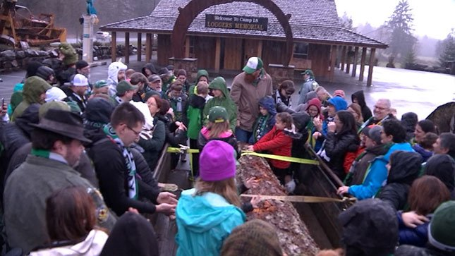 "Supporters of the Portland Timbers held their annual ""blessing of the log"" ceremony this past weekend."