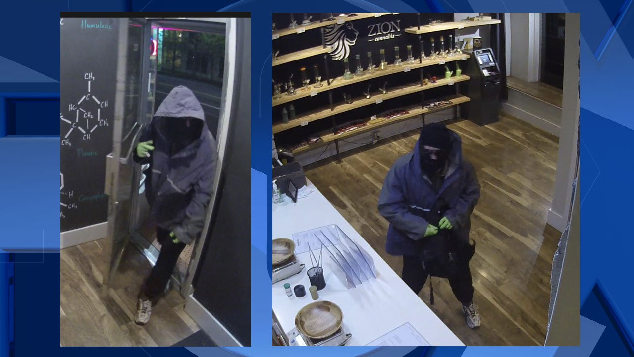 Surveillance images of robbery suspect. (Photos courtesy of Zion Cannabis)