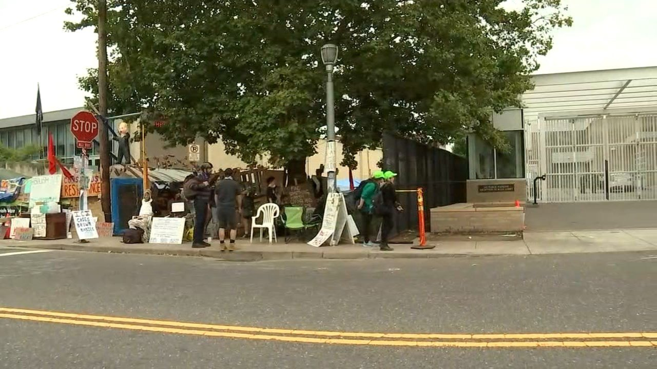ICE protest in southwest Portland. (KPTV)